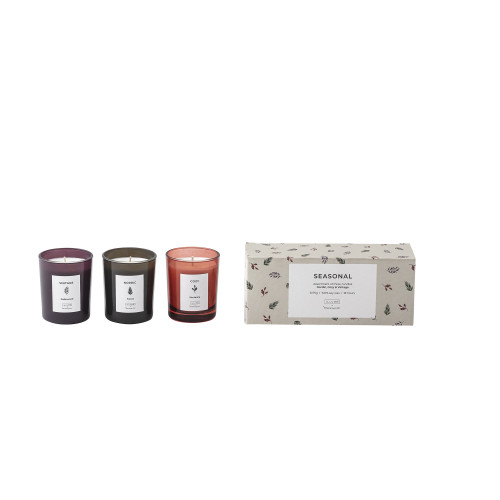 SEASONAL SCENTED CANDLE 3ASSORT. Ø6X7CM