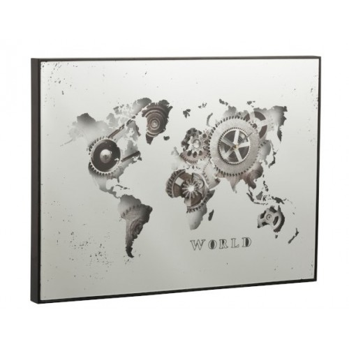 CLOCK/MIRROR WORLD MAP 80X5X60CM